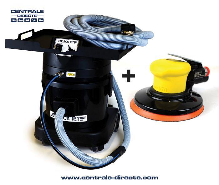 Centrale aspirante Black Jet + ponceuse orbitale pneumatique SIA AK2300LACO+SIA00050108