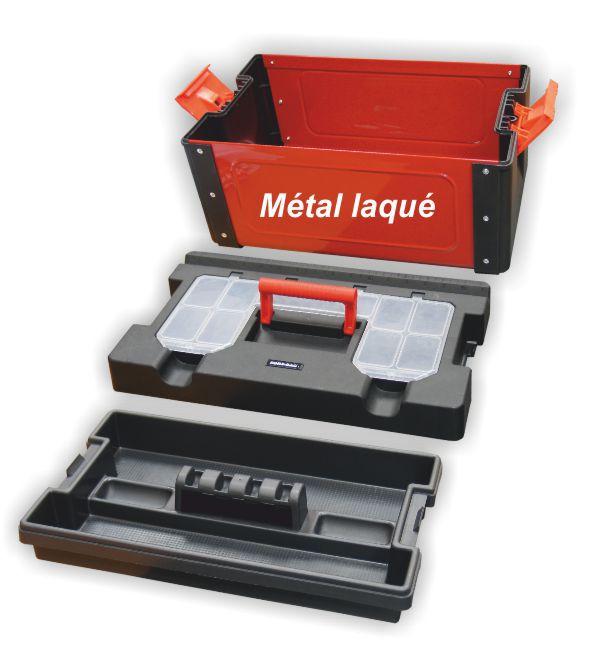 Caisse à outils bi matière métal / polymère 43 x 26.0 x 25 cm CP518