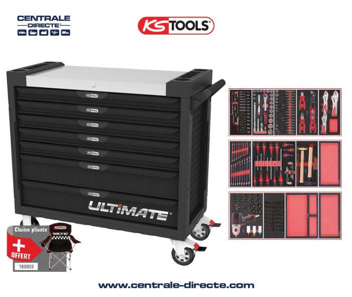 Servante d'atelier KS TOOLS - ULTIMATE XL - 7 Tiroirs avec 263 outils KS825.7263
