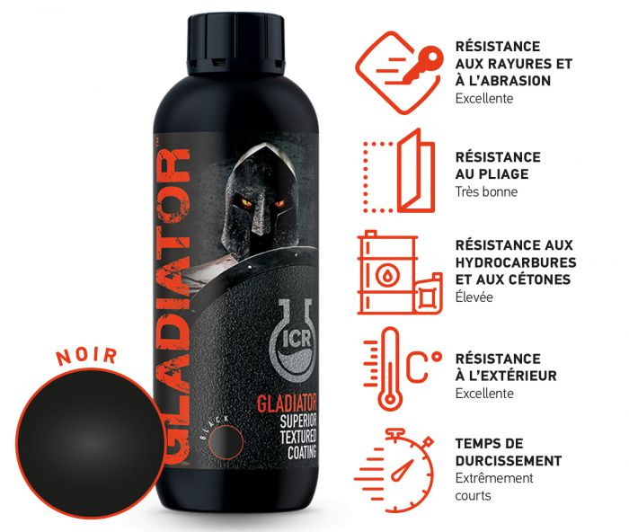 Revêtement de protection texturé Gladiator - Noir GLADB