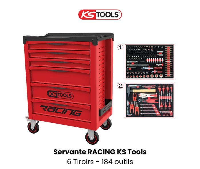 Servante d'atelier KS TOOLS - Racing - 6 Tiroirs avec 184 outils KS855.6184