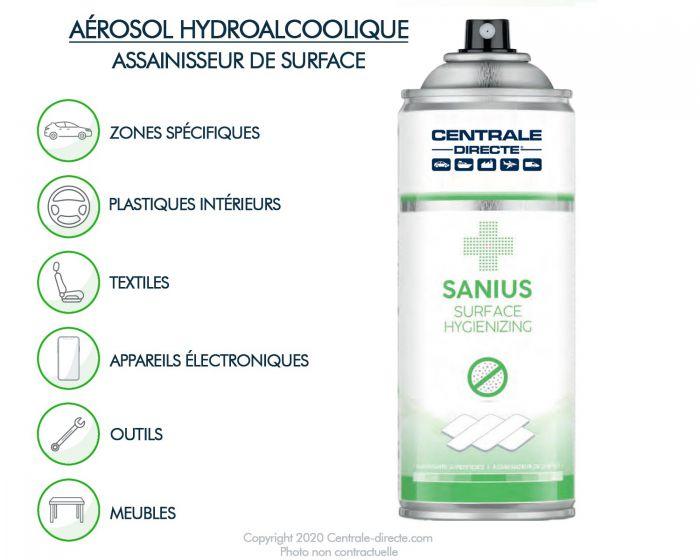 Aérosol hydroalcoolique de nettoyage des surfaces 400ml - Sanius SAN313