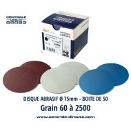 Disque abrasif Ø75mm auto-agrippant - Grain 60 à 2500