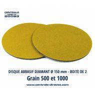 Disque abrasif diamant Ø 150 - Grains P500 et P1000 - DIAX