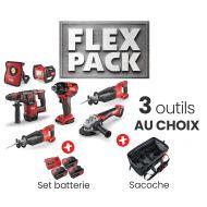FLEX PACK = 3 outils + 1 set batteries/chargeur + 1 sac
