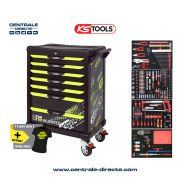 Servante d'atelier KS TOOLS - One By One fluo - 7 Tiroirs avec 260 outils