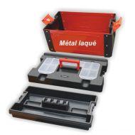 Caisse à outils bi matière métal / polymère 43 x 26.0 x 25 cm