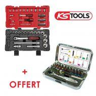 Coffret douilles Ks Tools avec coffret d'embouts de vissage offert