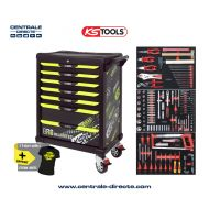 Servante d'atelier KS TOOLS - One By One fluo - 7 Tiroirs avec 251 outils