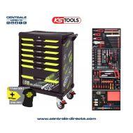 Servante d'atelier KS TOOLS - One By One édition limitée fluo - 7 Tiroirs avec 260 outils