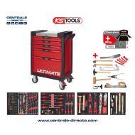 Servante d'atelier KS TOOLS - ULTIMATE - 5 Tiroirs avec 166 outils