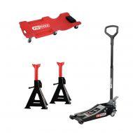 Pack Ks Tools : Cric hydraulique + jeu de chandelles + chariot