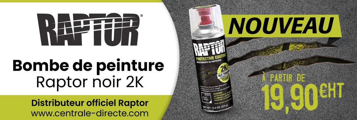 Bombe de peinture Raptor 2K noir